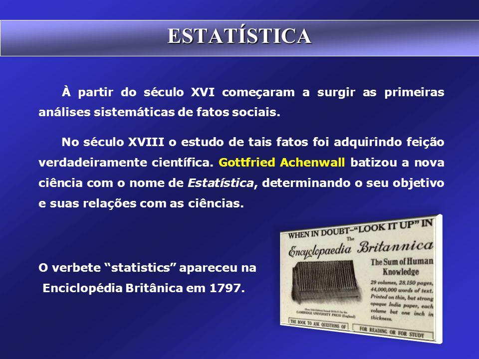 ESTATÍSTICA À partir do século XVI começaram a surgir as primeiras análises sistemáticas de fatos sociais.