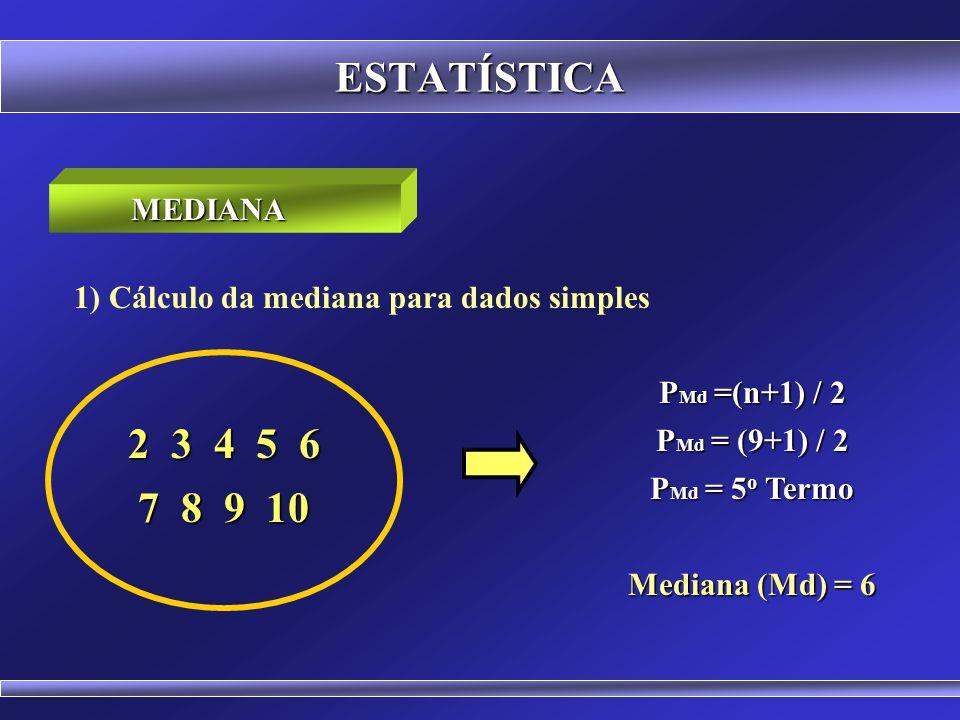ESTATÍSTICA MEDIANA. 1) Cálculo da mediana para dados simples. PMd =(n+1) / 2. PMd = (9+1) / 2. PMd = 5o Termo.