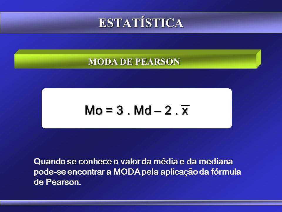 ESTATÍSTICA Mo = 3 . Md – 2 . x MODA DE PEARSON