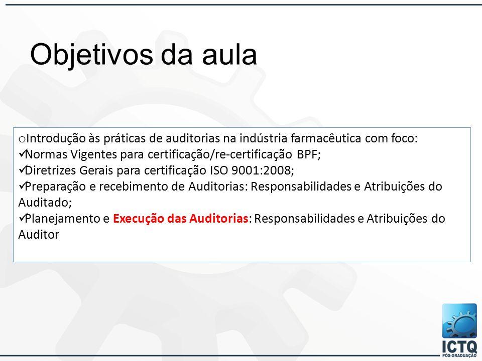Objetivos da aula Introdução às práticas de auditorias na indústria farmacêutica com foco: Normas Vigentes para certificação/re-certificação BPF;