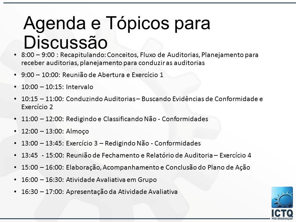 Agenda e Tópicos para Discussão