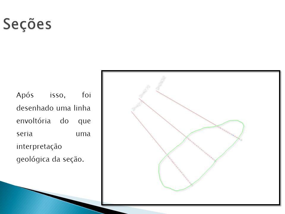 Seções Após isso, foi desenhado uma linha envoltória do que seria uma interpretação geológica da seção.