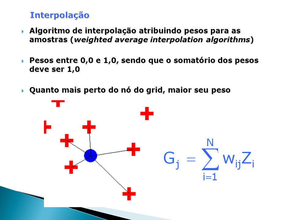 Interpolação Algoritmo de interpolação atribuindo pesos para as amostras (weighted average interpolation algorithms)