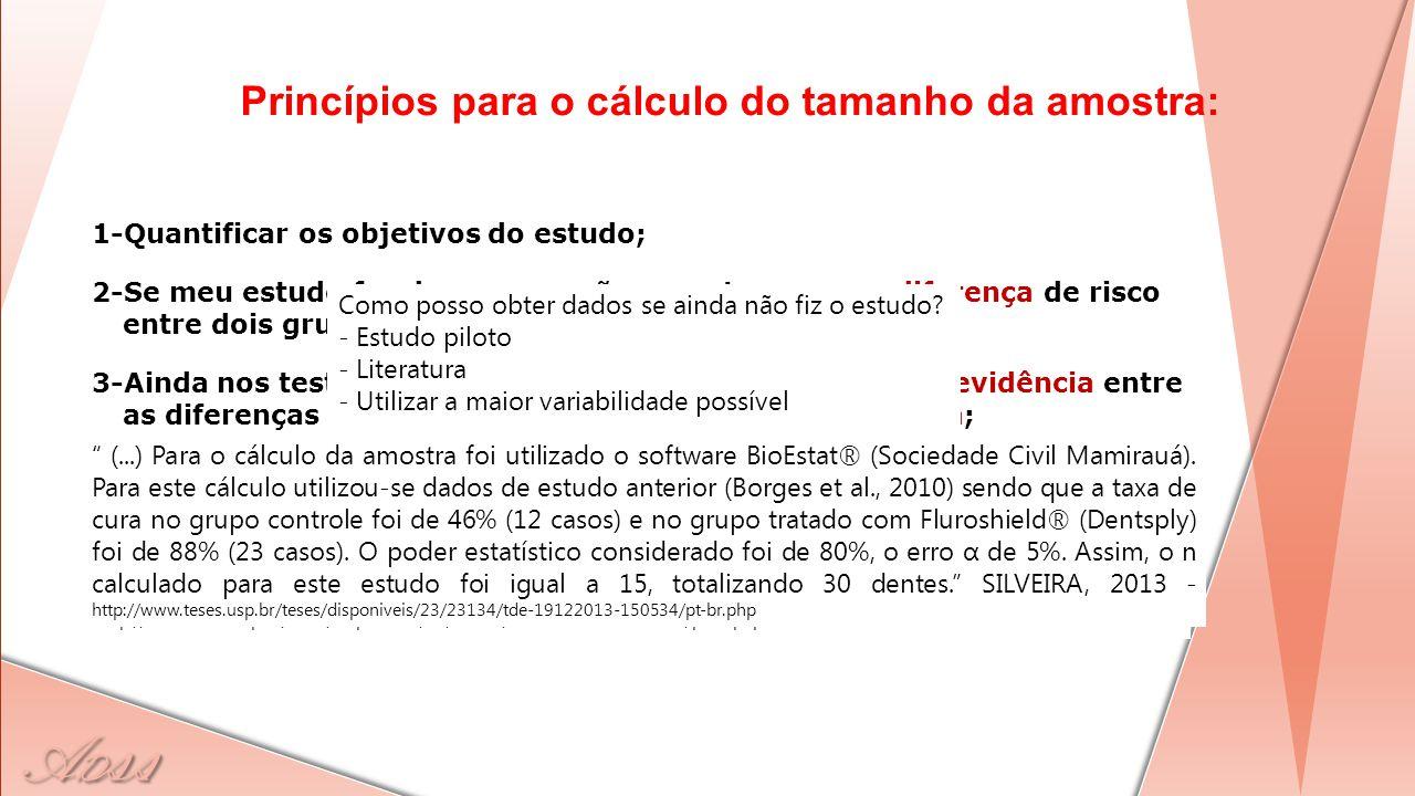 Princípios para o cálculo do tamanho da amostra: