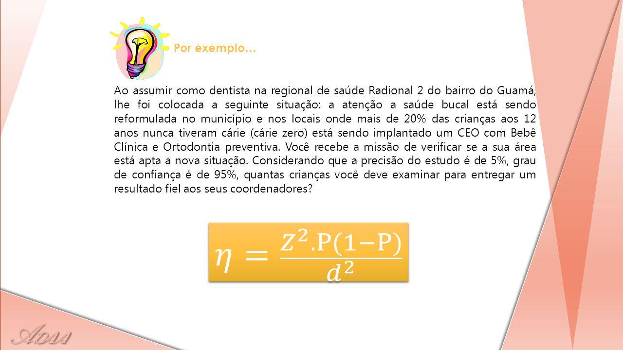 𝜂= 𝑍 2 .Ρ(1−Ρ) 𝑑 2 Por exemplo…