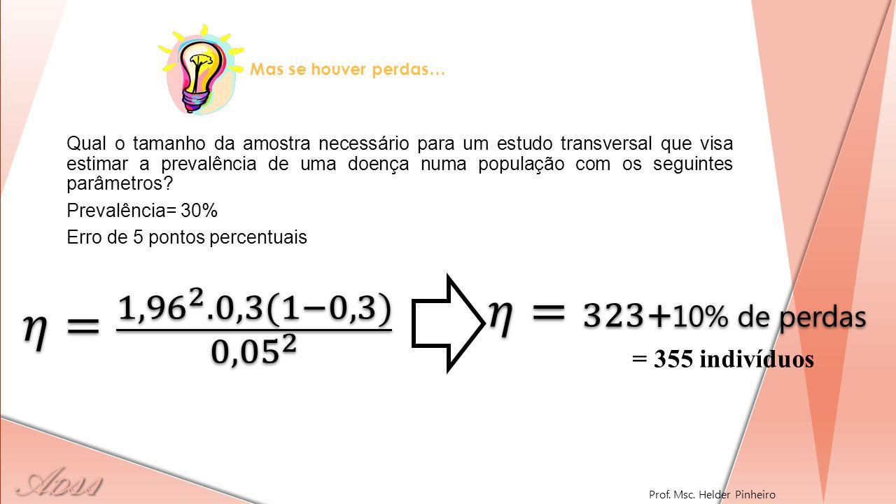 𝜂= 1,96 2 .0,3(1−0,3) 0,05 2 𝜂= 323+ 10% de perdas = 355 indivíduos