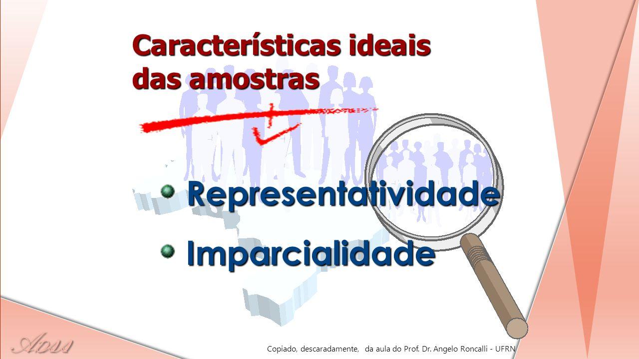 Representatividade Imparcialidade Características ideais das amostras