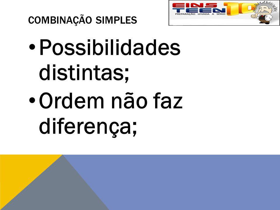 Possibilidades distintas; Ordem não faz diferença;