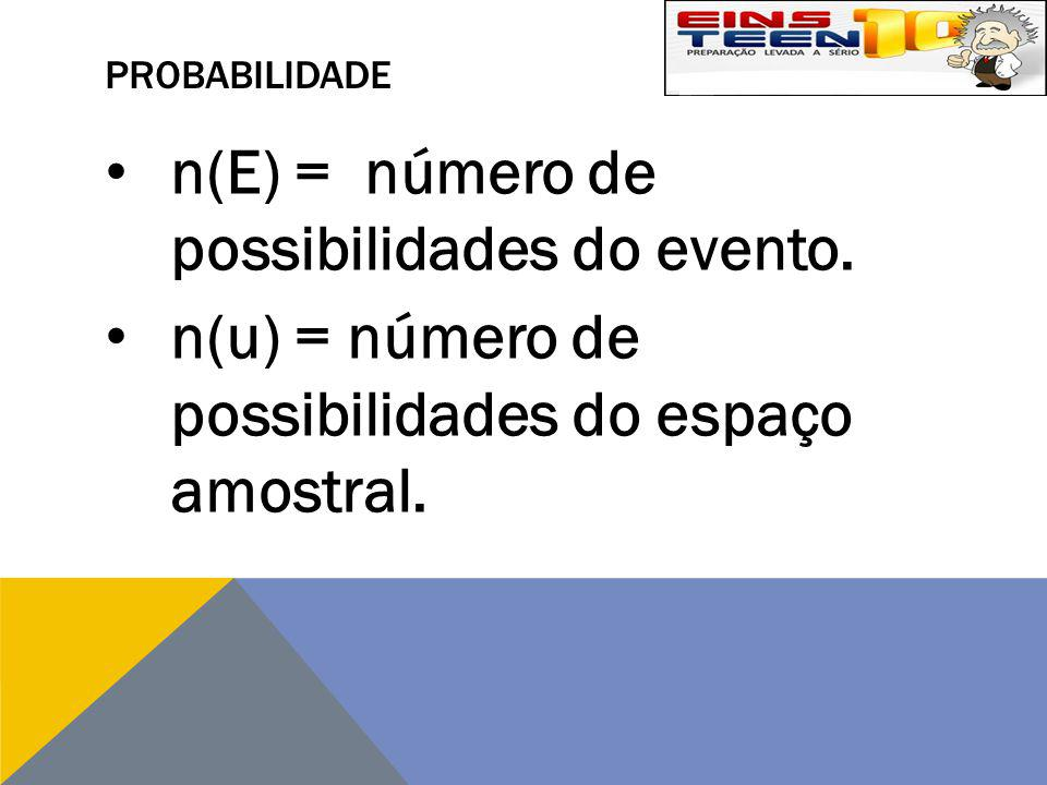 n(E) = número de possibilidades do evento.