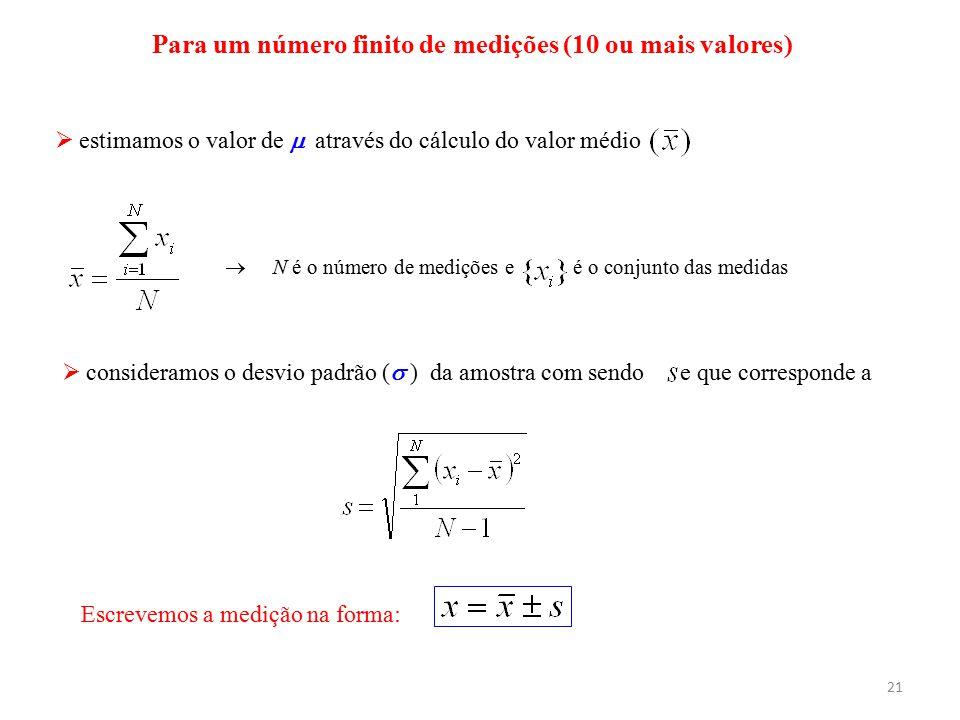 Para um número finito de medições (10 ou mais valores)