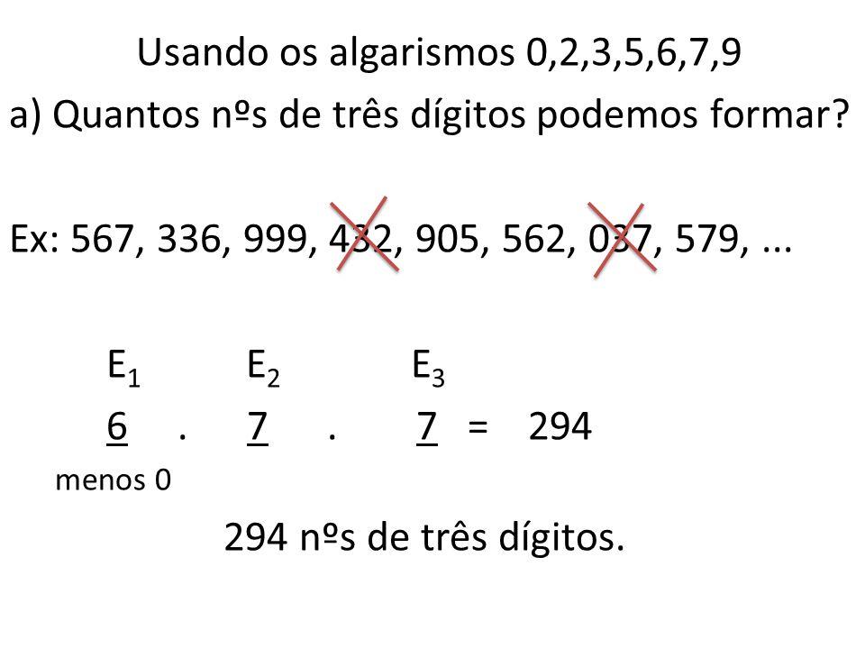 a) Quantos nºs de três dígitos podemos formar