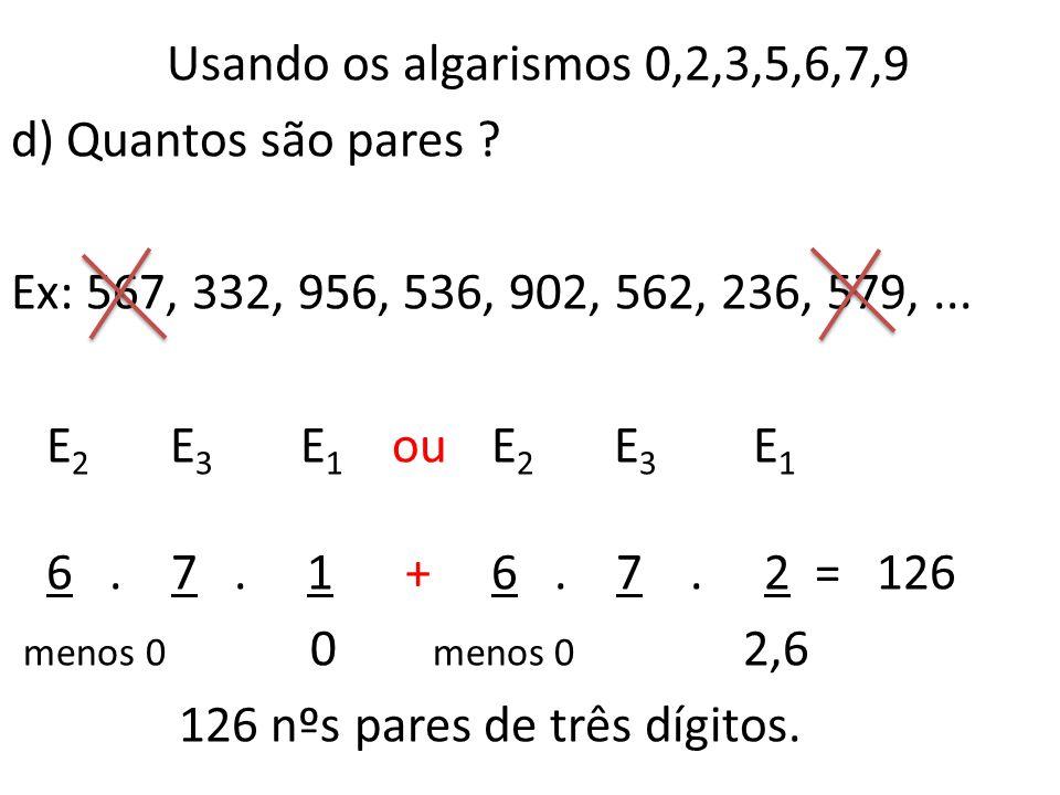 Usando os algarismos 0,2,3,5,6,7,9 d) Quantos são pares