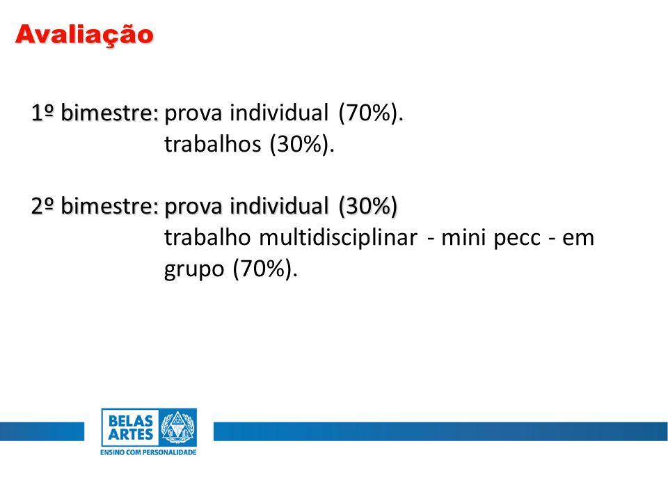 Avaliação 1º bimestre: prova individual (70%). trabalhos (30%). 2º bimestre: prova individual (30%)