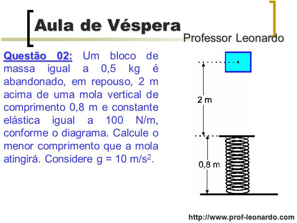 Questão 02: Um bloco de massa igual a 0,5 kg é abandonado, em repouso, 2 m acima de uma mola vertical de comprimento 0,8 m e constante elástica igual a 100 N/m, conforme o diagrama.
