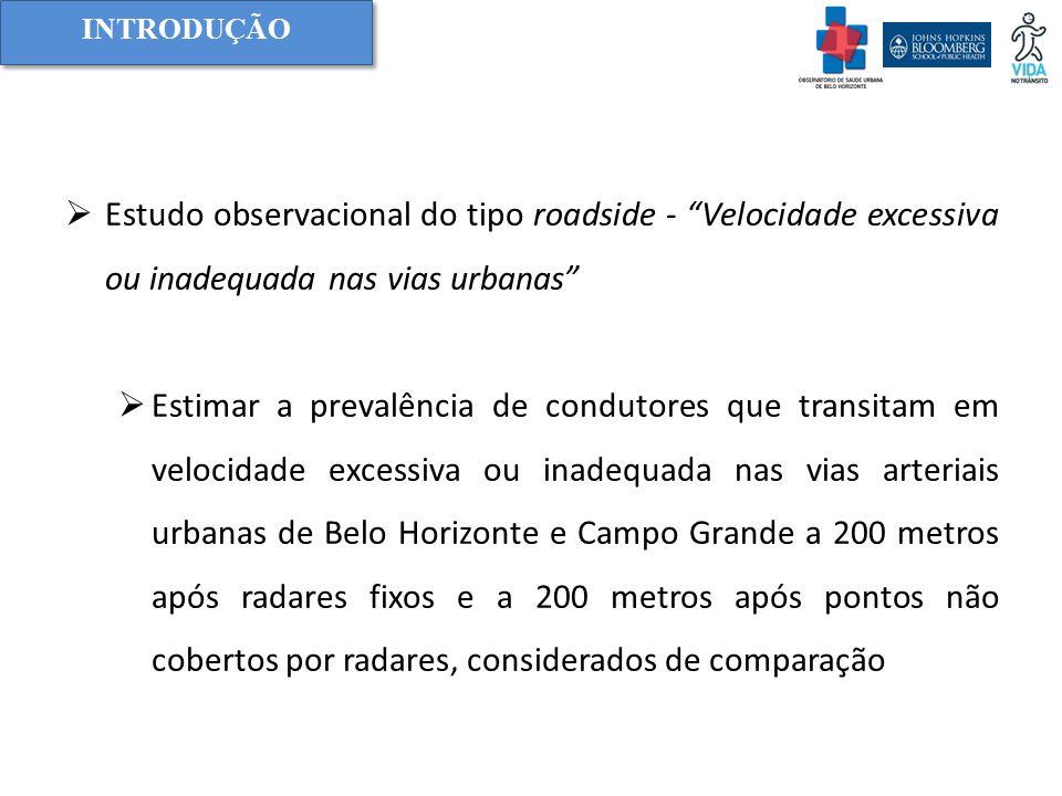 Introdução Estudo observacional do tipo roadside - Velocidade excessiva ou inadequada nas vias urbanas