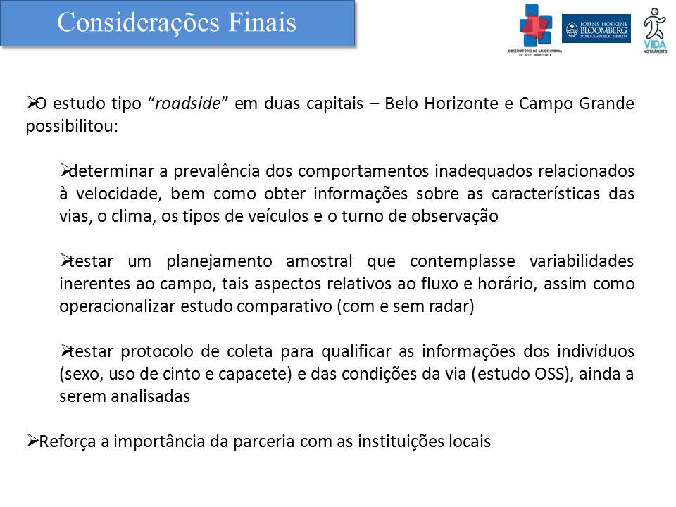 Considerações Finais O estudo tipo roadside em duas capitais – Belo Horizonte e Campo Grande possibilitou: