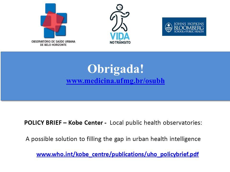 Obrigada! www.medicina.ufmg.br/osubh. POLICY BRIEF – Kobe Center - Local public health observatories:
