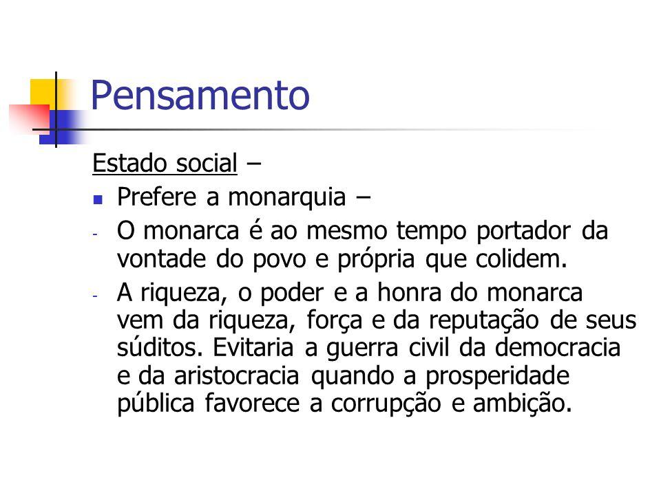 Pensamento Estado social – Prefere a monarquia –