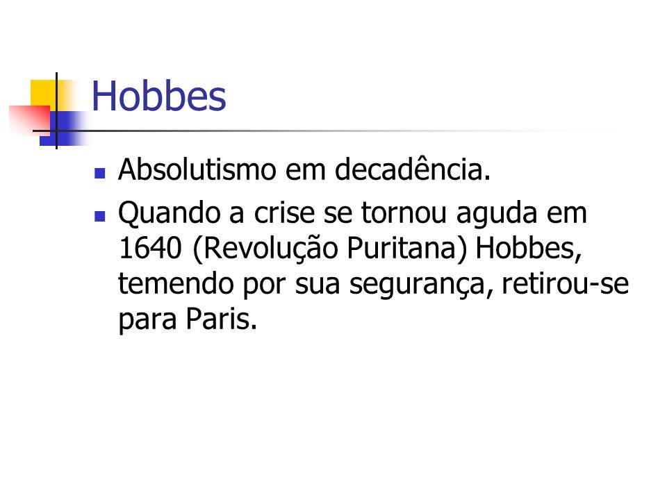 Hobbes Absolutismo em decadência.