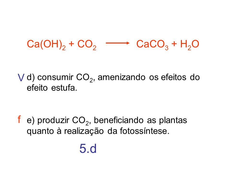 Ca(OH)2 + CO2 CaCO3 + H2O d) consumir CO2, amenizando os efeitos do efeito estufa.