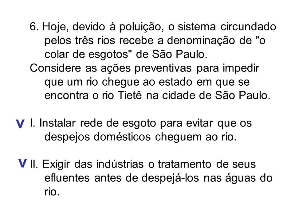 6. Hoje, devido à poluição, o sistema circundado pelos três rios recebe a denominação de o colar de esgotos de São Paulo.