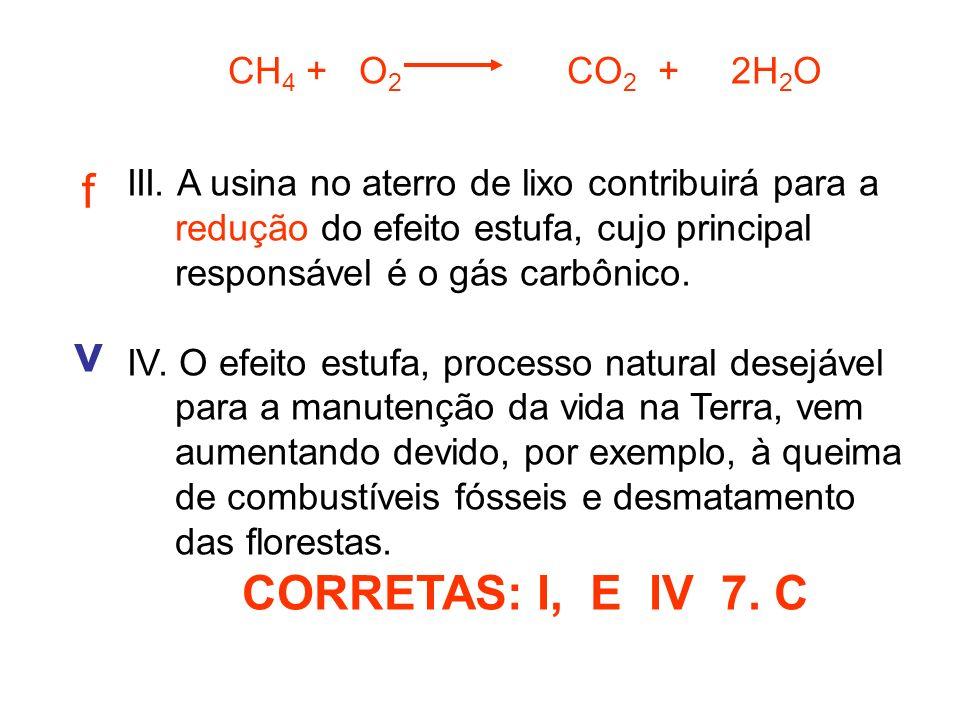 v f CORRETAS: I, E IV 7. C CH4 + O2 CO2 + 2H2O