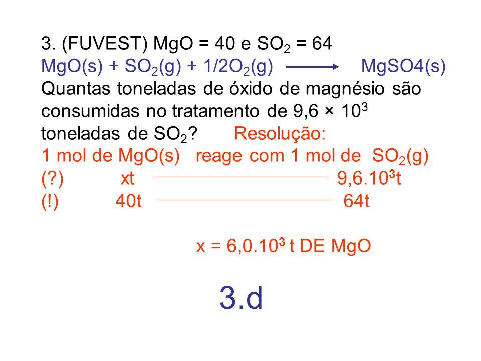 3. (FUVEST) MgO = 40 e SO2 = 64 MgO(s) + SO2(g) + 1/2O2(g) MgSO4(s)