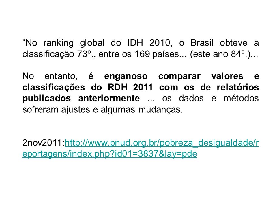 No ranking global do IDH 2010, o Brasil obteve a classificação 73º