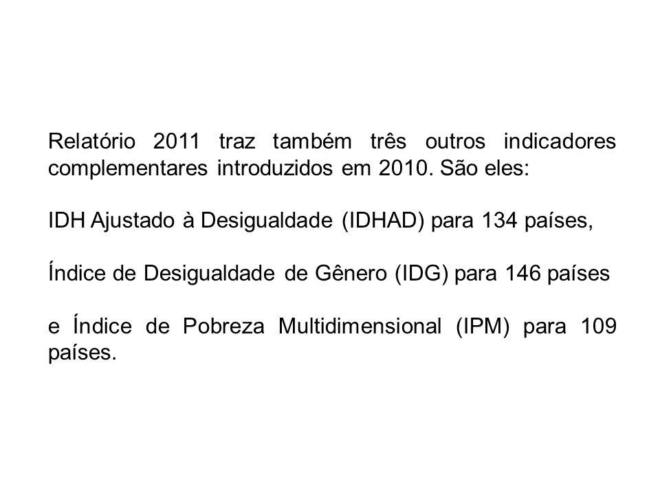 Relatório 2011 traz também três outros indicadores complementares introduzidos em 2010. São eles: