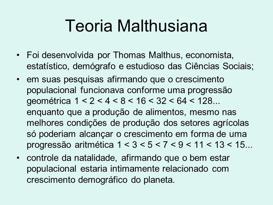 Teoria Malthusiana Foi desenvolvida por Thomas Malthus, economista, estatístico, demógrafo e estudioso das Ciências Sociais;