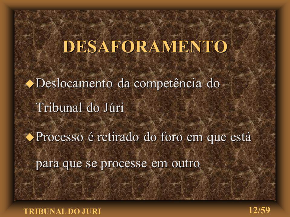 DESAFORAMENTO Deslocamento da competência do Tribunal do Júri
