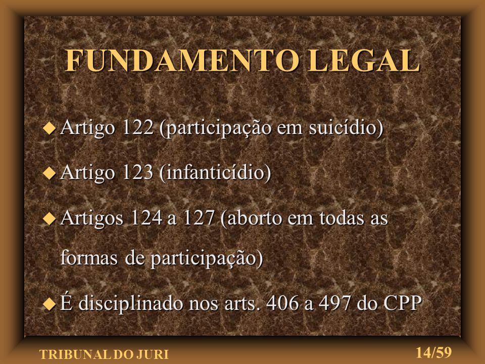 FUNDAMENTO LEGAL Artigo 122 (participação em suicídio)
