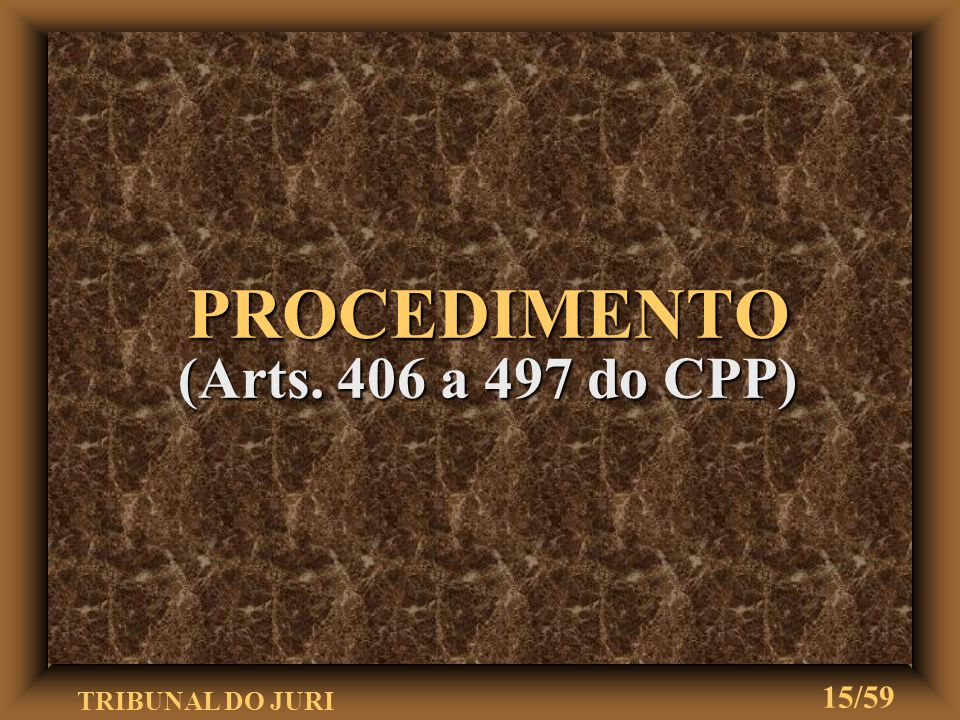 PROCEDIMENTO (Arts. 406 a 497 do CPP)
