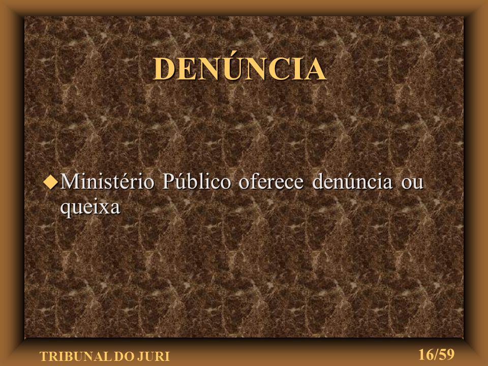 DENÚNCIA Ministério Público oferece denúncia ou queixa
