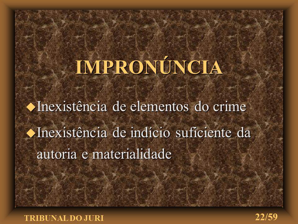 IMPRONÚNCIA Inexistência de elementos do crime