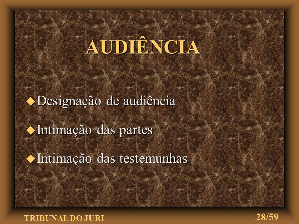 AUDIÊNCIA Designação de audiência Intimação das partes