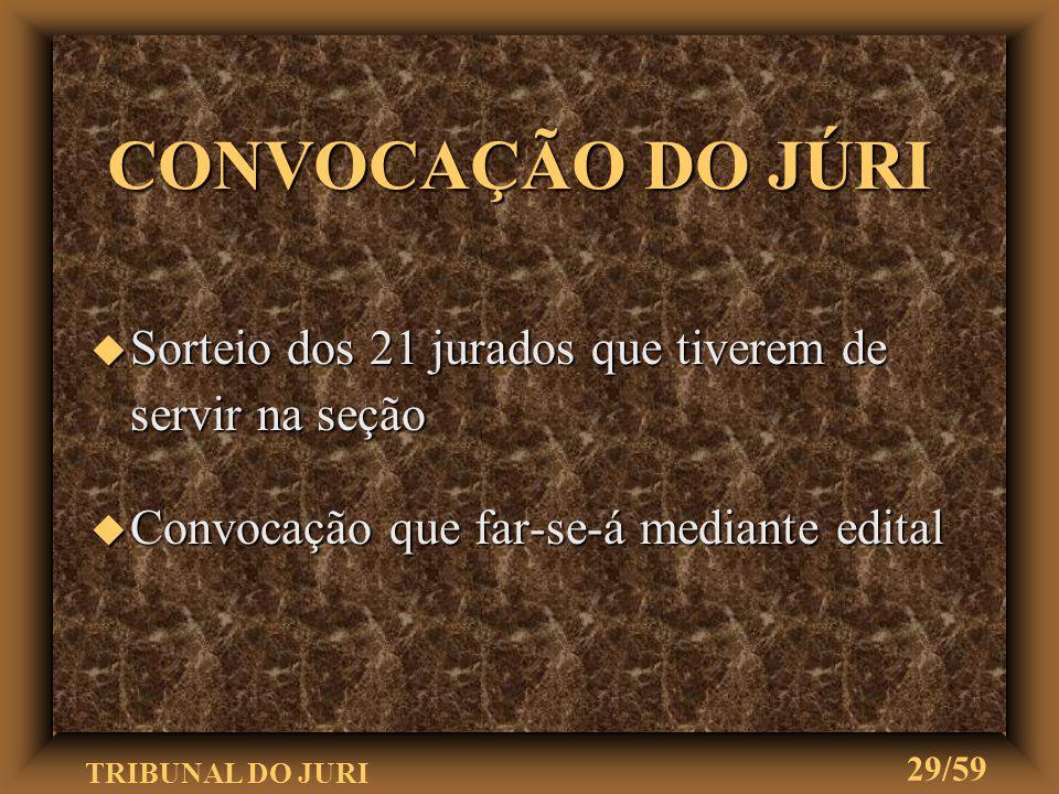 CONVOCAÇÃO DO JÚRI Sorteio dos 21 jurados que tiverem de servir na seção.