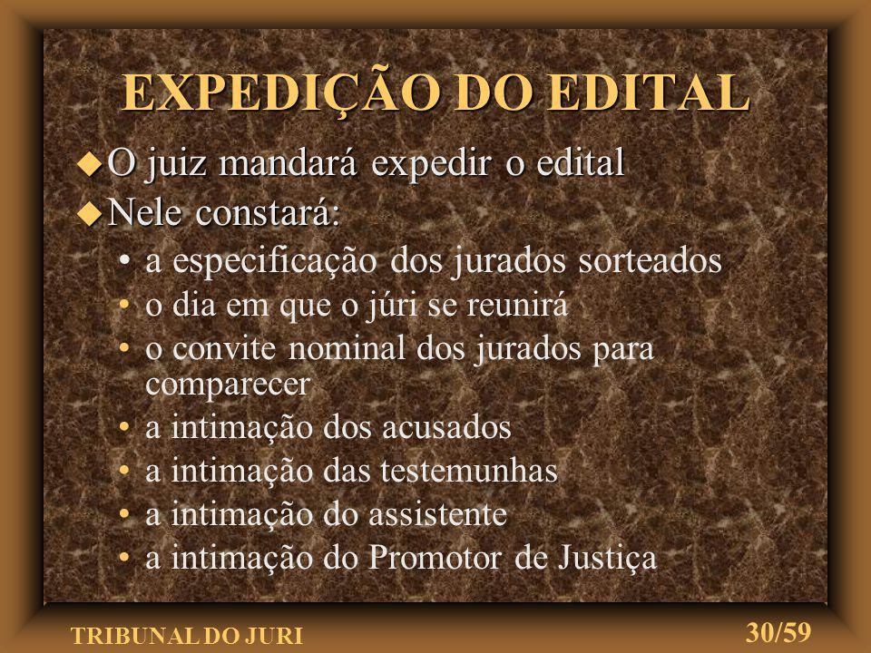 EXPEDIÇÃO DO EDITAL O juiz mandará expedir o edital Nele constará:
