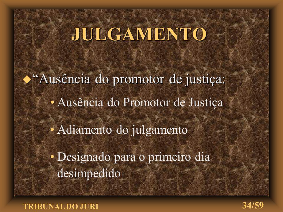 JULGAMENTO Ausência do promotor de justiça:
