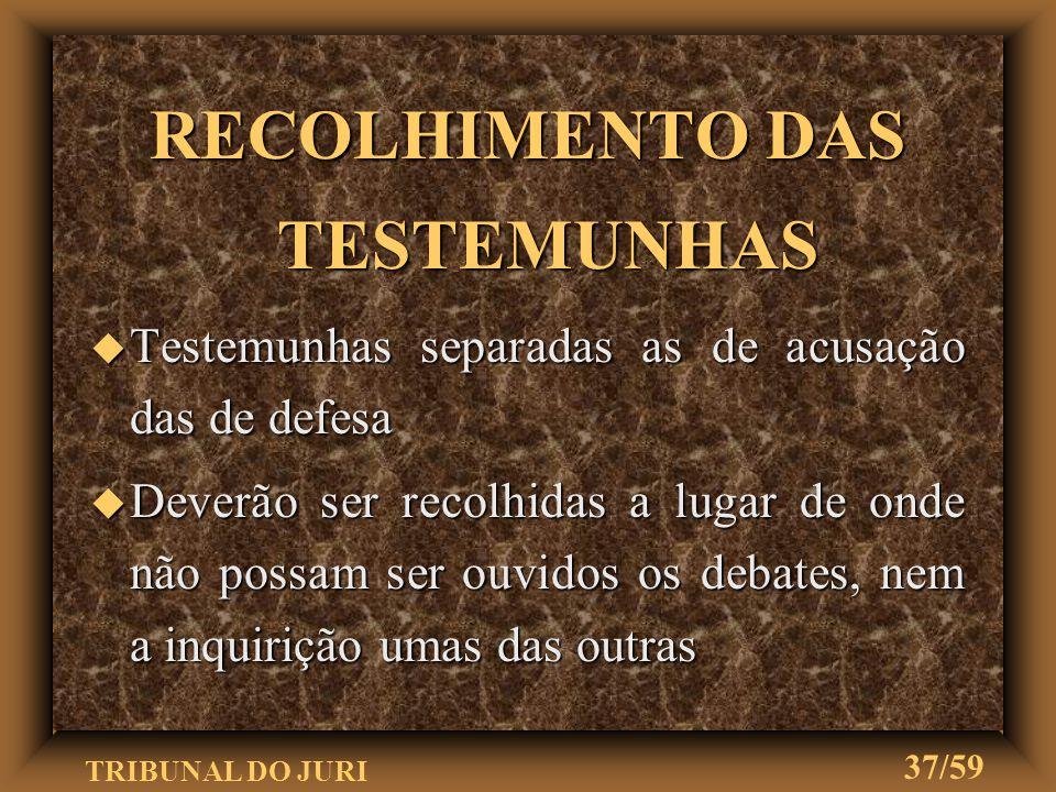 RECOLHIMENTO DAS TESTEMUNHAS