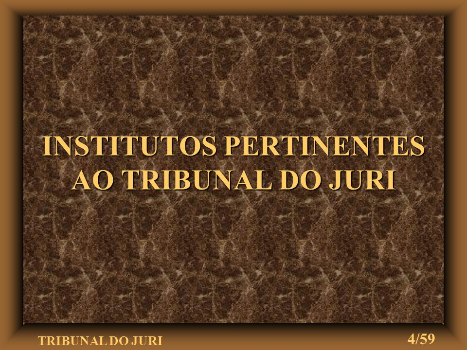 INSTITUTOS PERTINENTES AO TRIBUNAL DO JURI