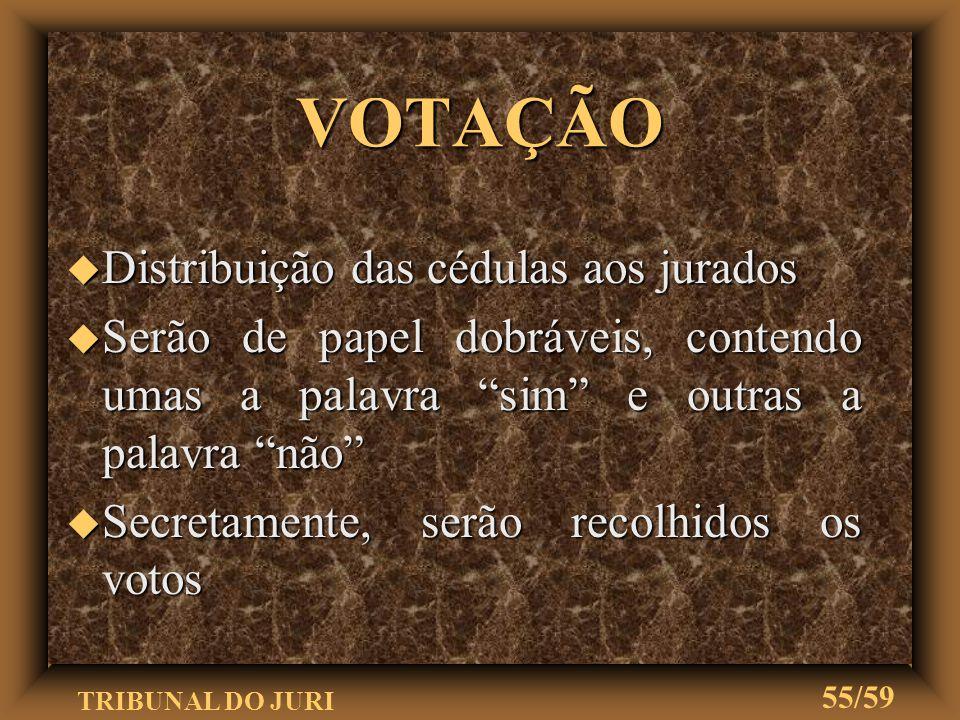 VOTAÇÃO Distribuição das cédulas aos jurados
