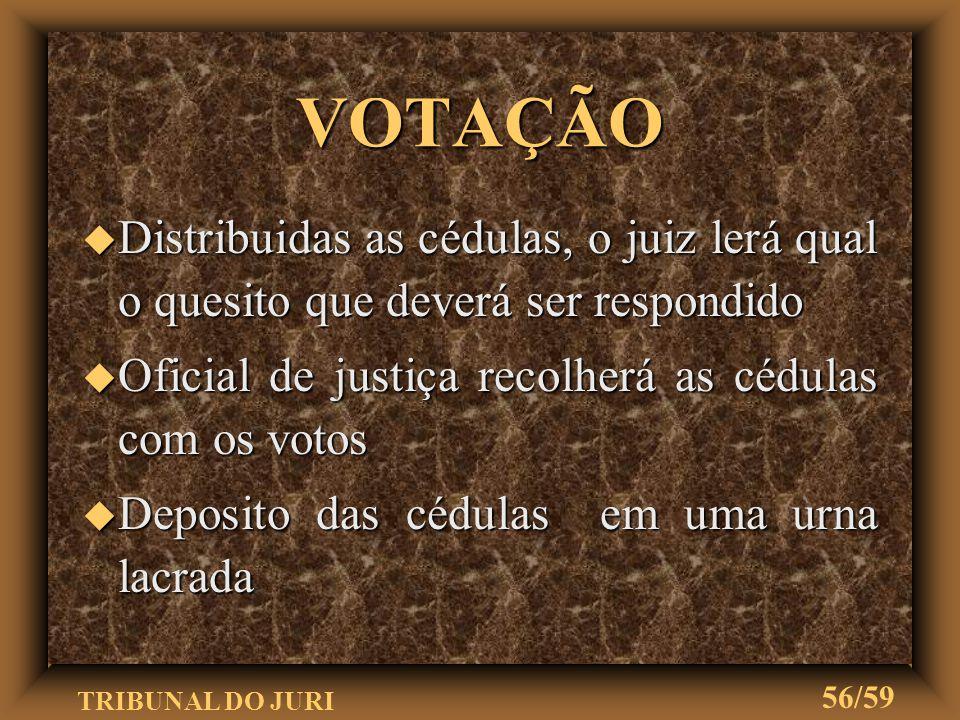 VOTAÇÃO Distribuidas as cédulas, o juiz lerá qual o quesito que deverá ser respondido. Oficial de justiça recolherá as cédulas com os votos.