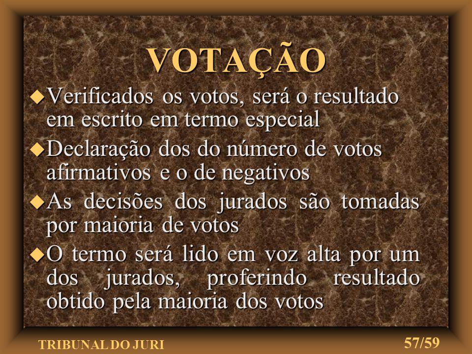VOTAÇÃO Verificados os votos, será o resultado em escrito em termo especial. Declaração dos do número de votos afirmativos e o de negativos.