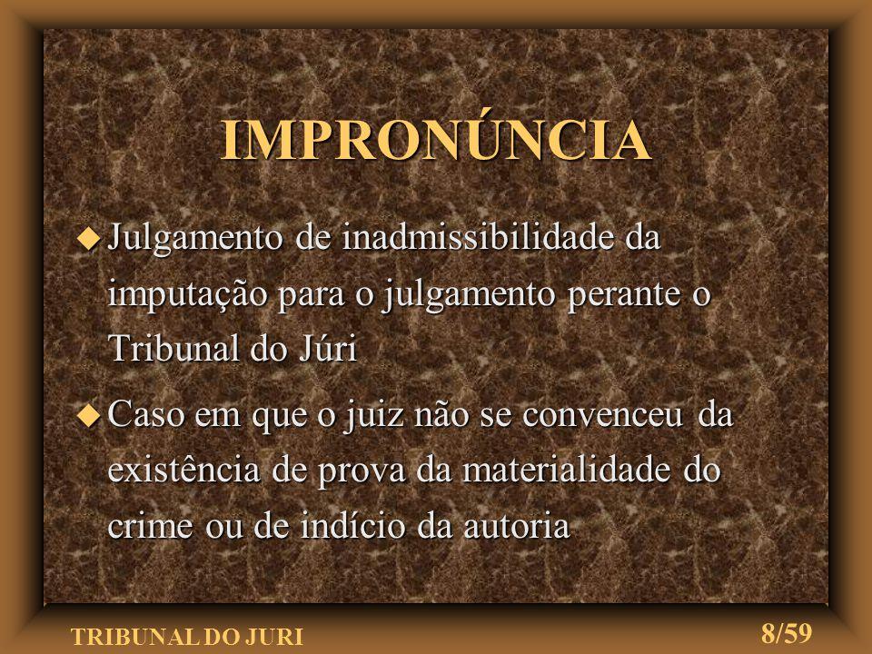 IMPRONÚNCIA Julgamento de inadmissibilidade da imputação para o julgamento perante o Tribunal do Júri.