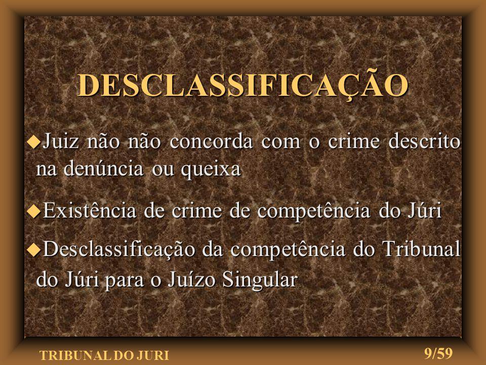 DESCLASSIFICAÇÃO Juiz não não concorda com o crime descrito na denúncia ou queixa. Existência de crime de competência do Júri.