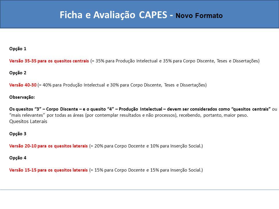 Ficha e Avaliação CAPES - Novo Formato