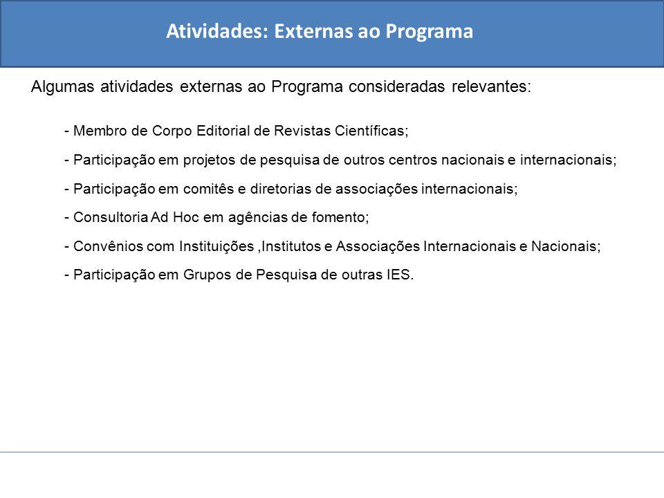Atividades: Externas ao Programa