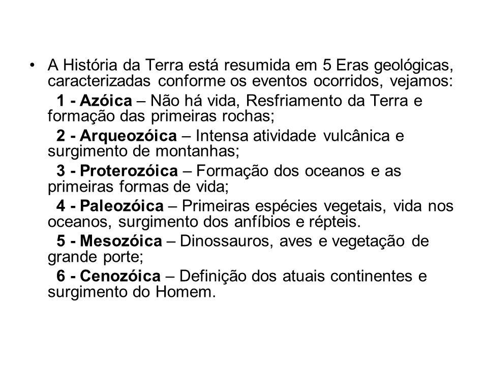 A História da Terra está resumida em 5 Eras geológicas, caracterizadas conforme os eventos ocorridos, vejamos: