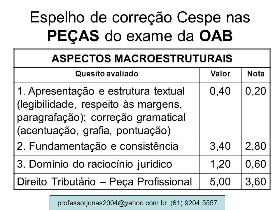 Espelho de correção Cespe nas PEÇAS do exame da OAB